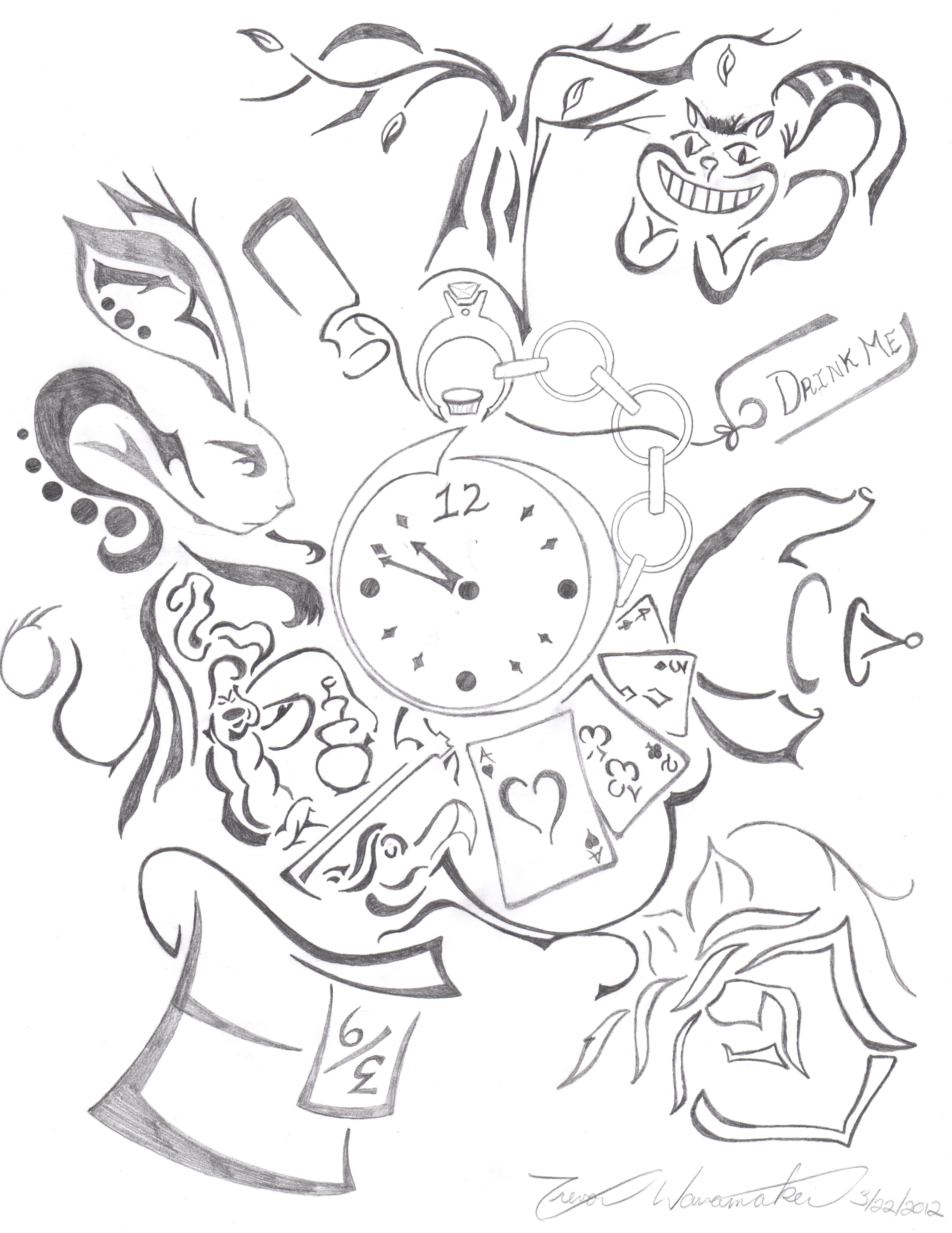 This Is An Alice In Wonderland Drawing I Drew For My