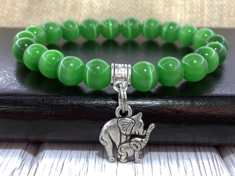Cat eye bracelet Elephant Protection gemstone Green chakra Spiritual bracelet Evil eye bracelet Green cat eye Gemstone amulet Charm bracelet