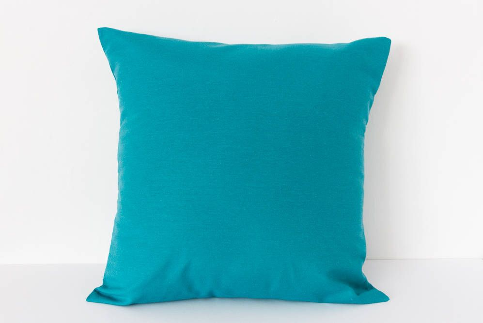 Turquoise Square Cushion Cover Throw Pillow Cover Plain Blue