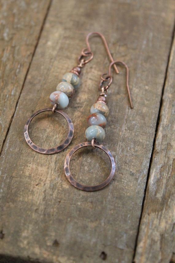 Photo of Bohemian Earrings Copper Earrings Copper Jewelry Natural | Etsy #JewleryIdeas