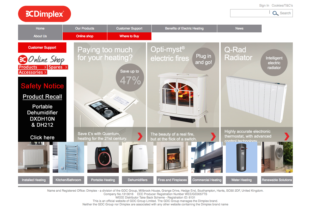Dimplex Southampton Poorly Designed Website With Overlapping