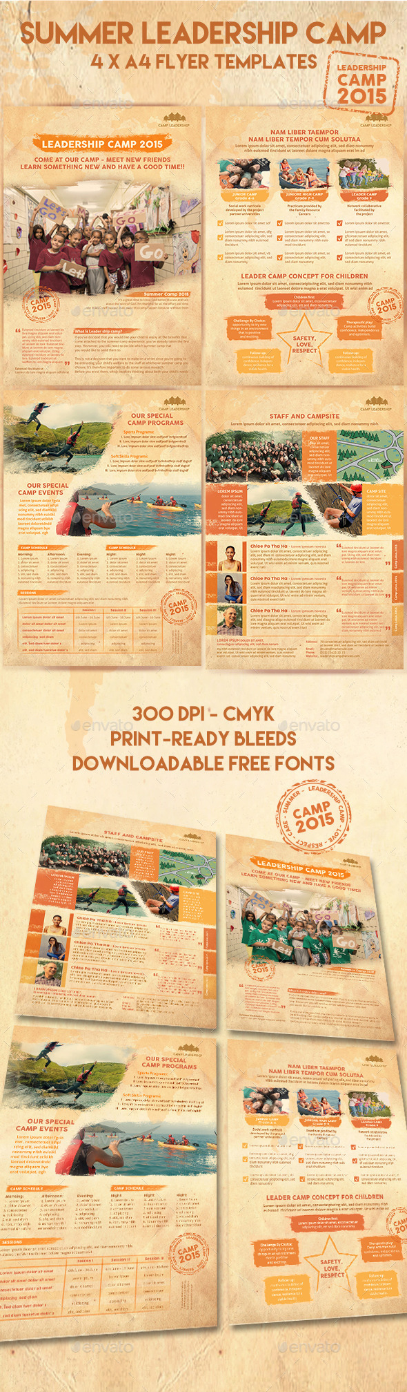 daycare flyer templates and samples girls summer camp flyer 4 templates activity brush camp camping elementary