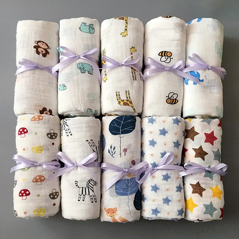 1pc Muslin 100 Cotton Baby Swaddles Soft Newborn Blankets Bath Gauze Infant Wrap Sleepsack Stroller Cover Play Mat Muslin Baby Baby Bath Towel Baby Swaddle Blankets