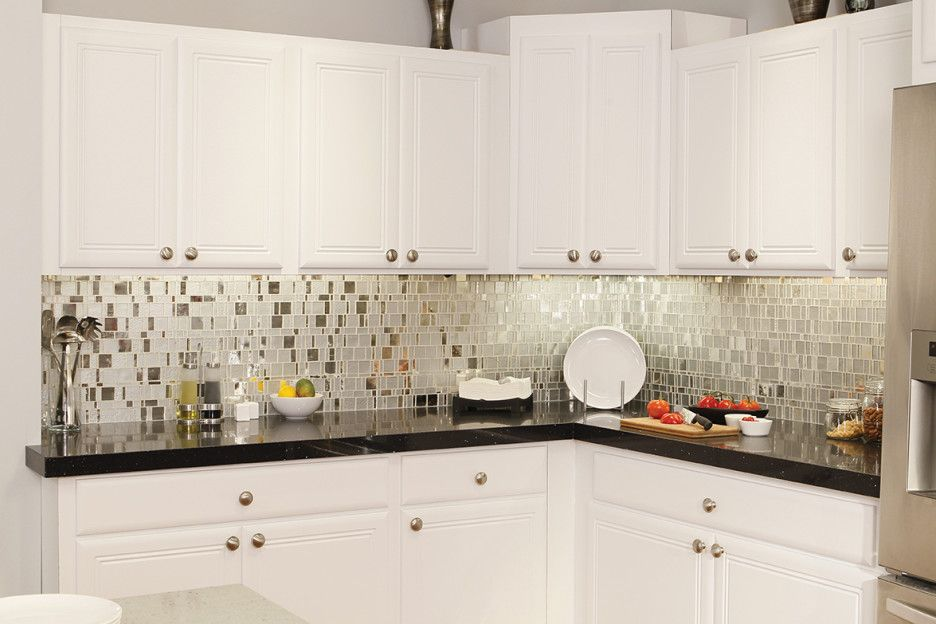 Endearing Black Color Kitchen Recycled Countertops With White Wooden Double Door Cabinet And L Shape Granite