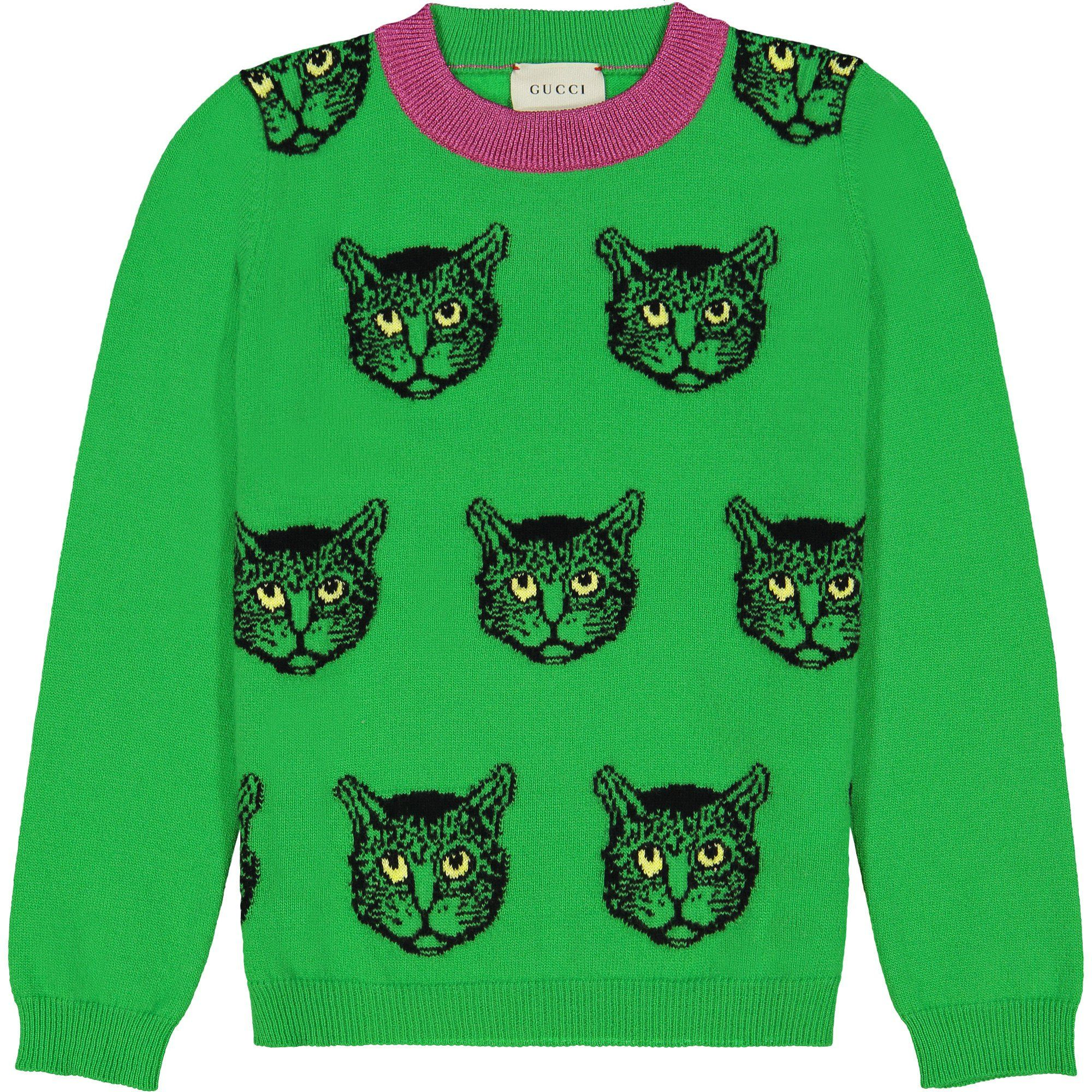 67736be0517b Girls Sweater in Green with Cat Knit | Fashion | Sweaters, Girls ...