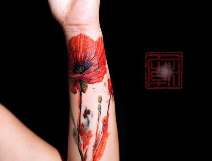 tatouage coquelicot un champ de 52 mod les en photos coquelicot tatouage coquelicots et. Black Bedroom Furniture Sets. Home Design Ideas