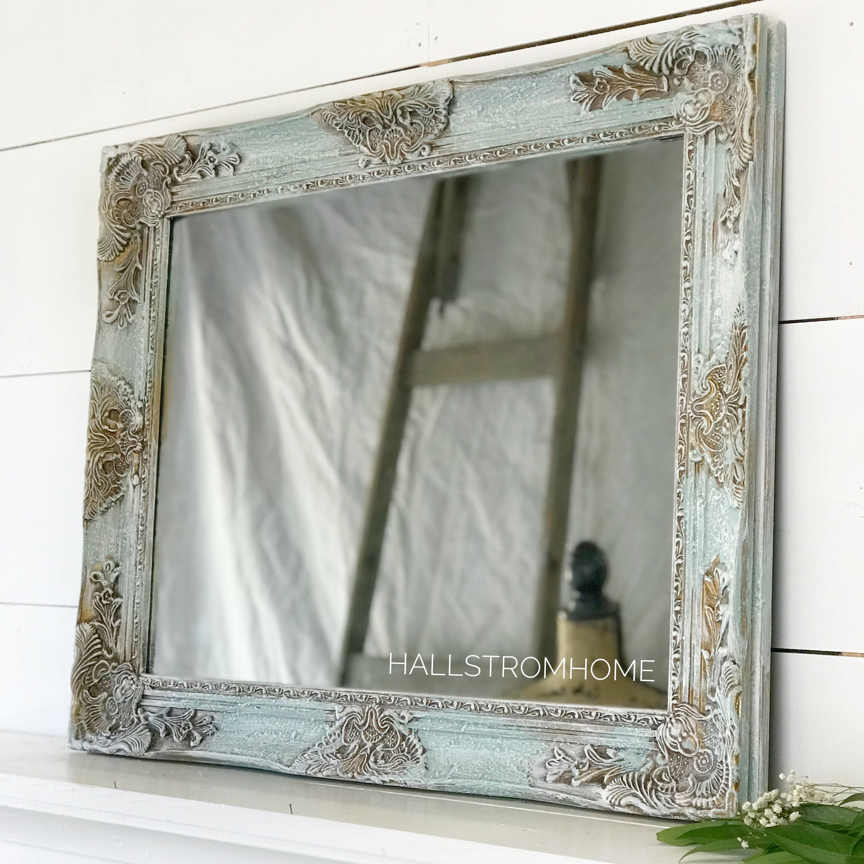 French Shabby Chic Wall Mirror Blue Wood Framed Bathroom Etsy In 2021 Wood Framed Bathroom Mirrors Antique Vanity Mirrors Shabby Chic Mirror Wall [ 3000 x 3000 Pixel ]