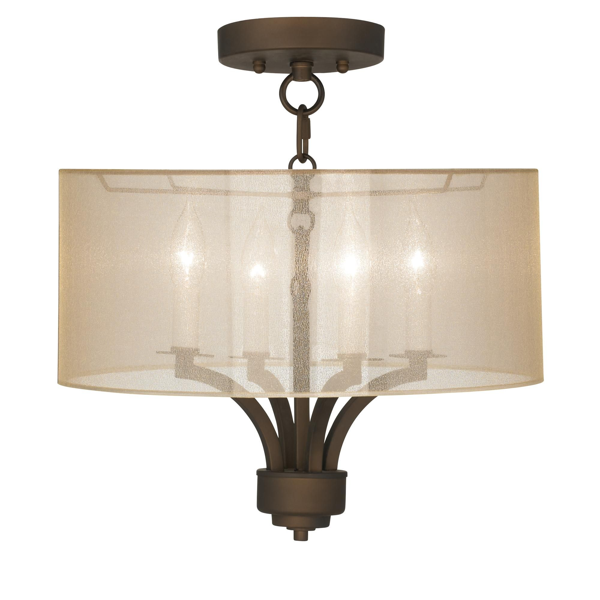Fortuna Bronze 16 Wide Sheer Gold Ceiling Light Ceiling Lights Gold Ceiling Light Traditional Ceiling Lights