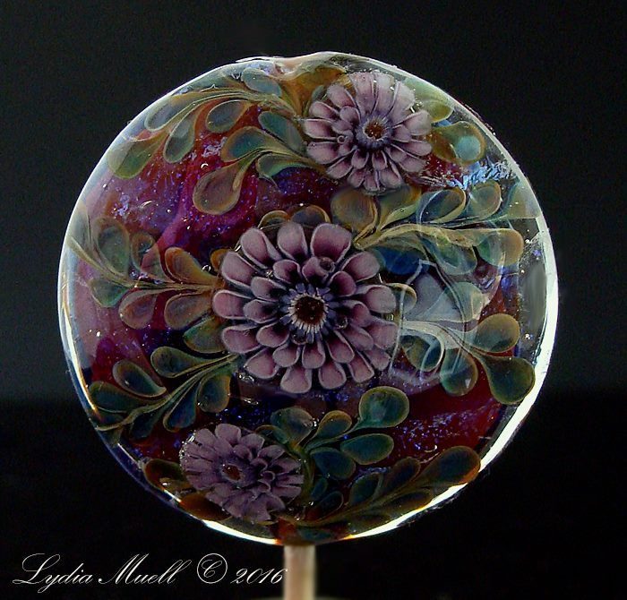 Lydia Muell July 2016 Lampwork Art Glass Floral Focal Bead ♥•♥•♥BEAUTIFUL♥•♥•♥