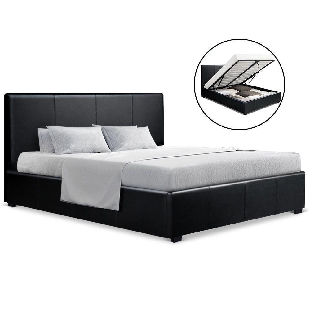 Lila Black Gas Lift Storage Bed Frame Online Only Matt Blatt