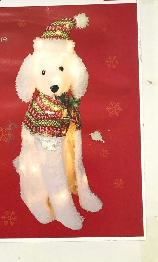 Holiday Time Light Up Poodle White Fluffy Christmas Indoor Outdoor
