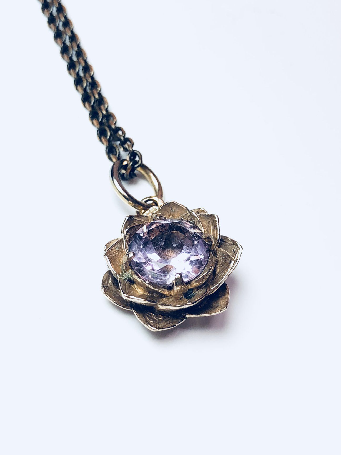 Lotus flower necklace bronze lotus flower necklace