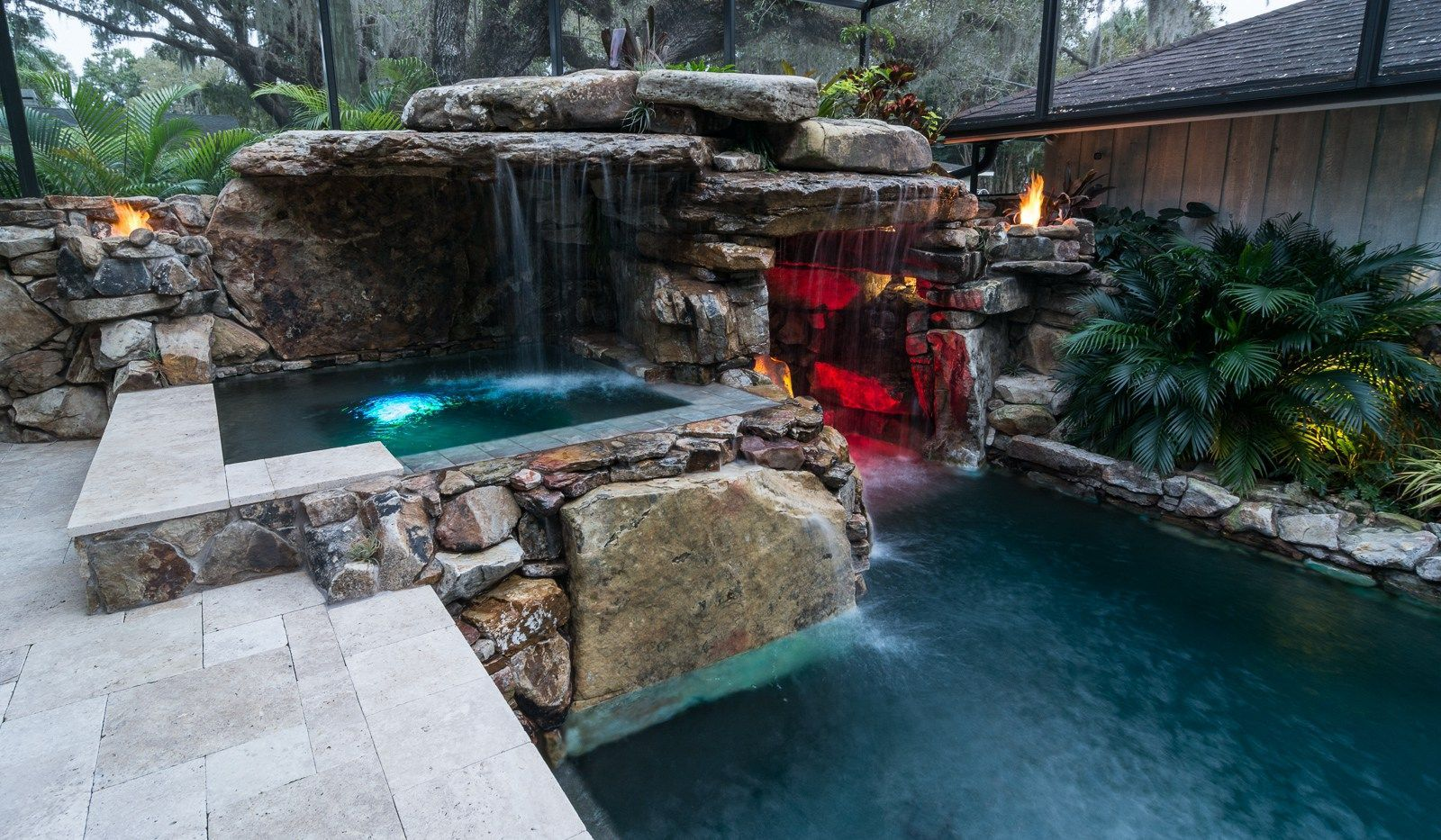 These Sheer Descent Waterfalls Are A Fun Way To Add A Cool New Element To Your Pool Area Swimmingpool Pool Dream Backyard Pool Insane Pools Pool Houses