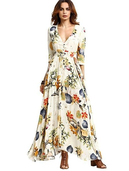 Womens Button Up Split Floral Print Flowy Party Maxi Dress