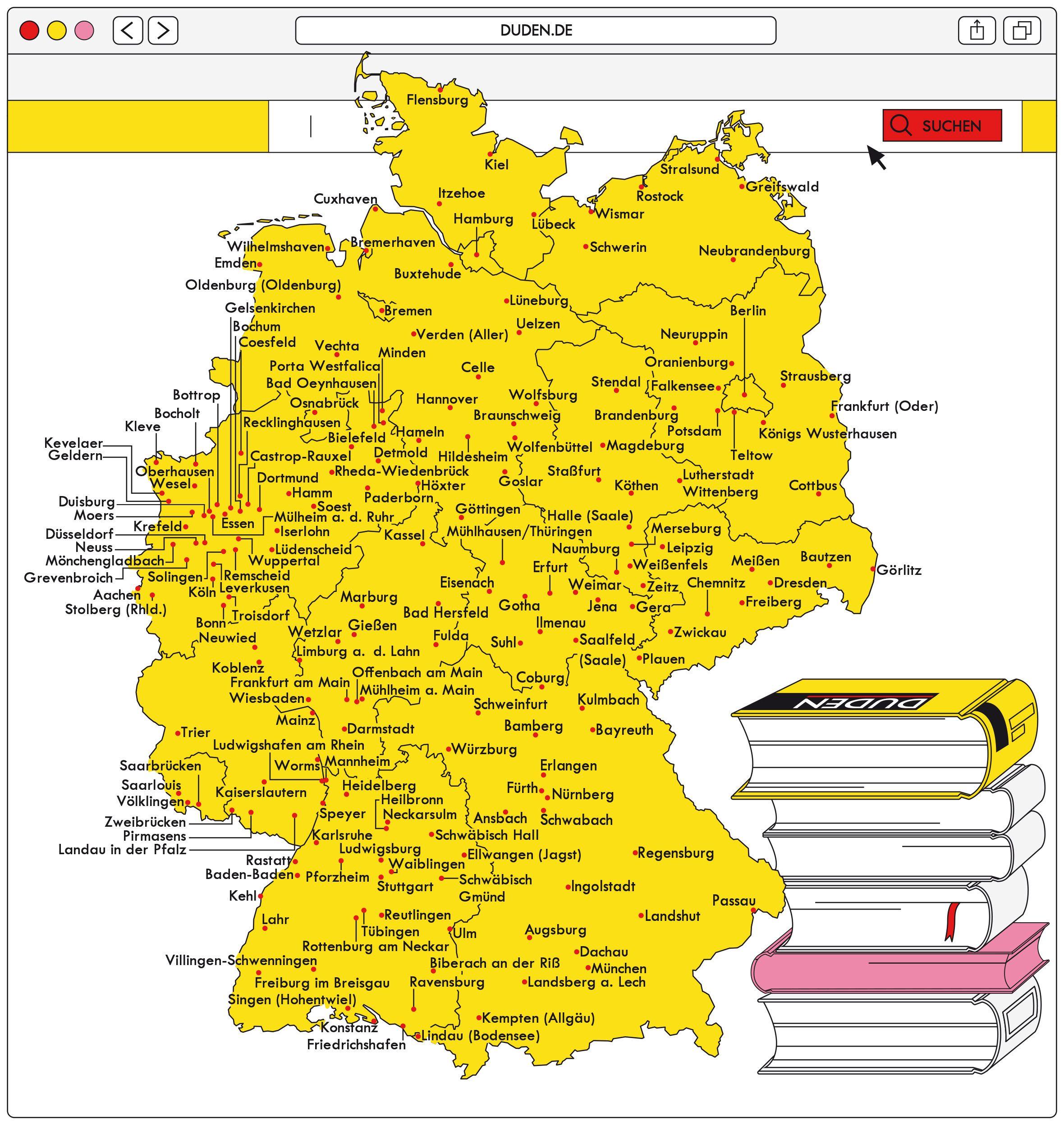Stadte Im Duden Landkarte Deutschlandkarte Karten