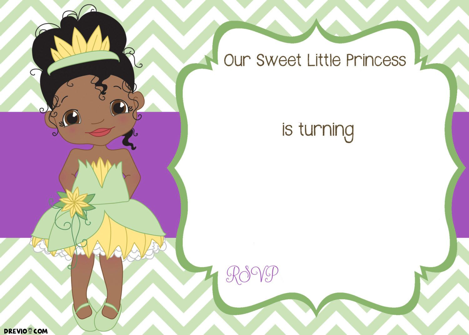 image about Printable Princess Picture referred to as Absolutely free Printable Princess Tiana Birthday Invitation