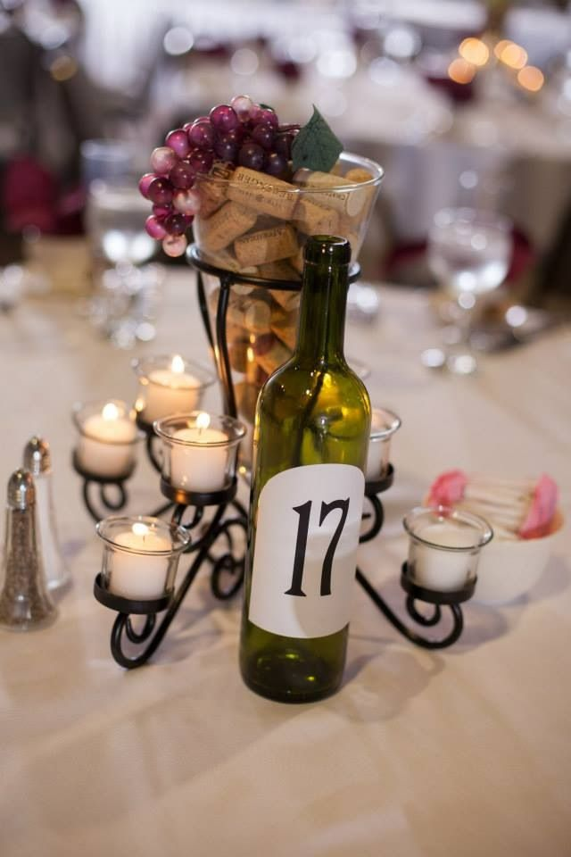 Centerpieces for wine theme wedding similar to these https