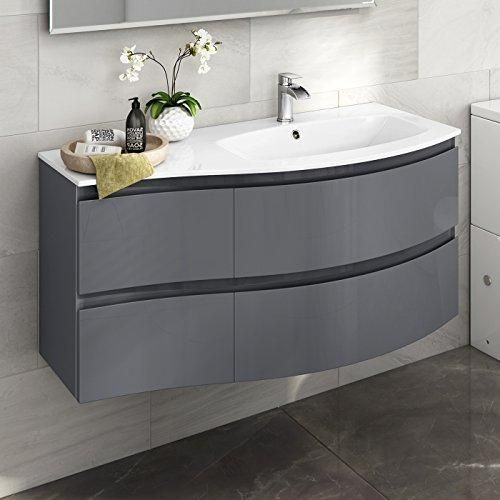 Designer Gloss Grey Curved Vanity Unit Wall Hung Right Hand Basin Sink Bathroom Furniture Bathroom Furniture Modern Bathroom Units Bathroom Vanity Units