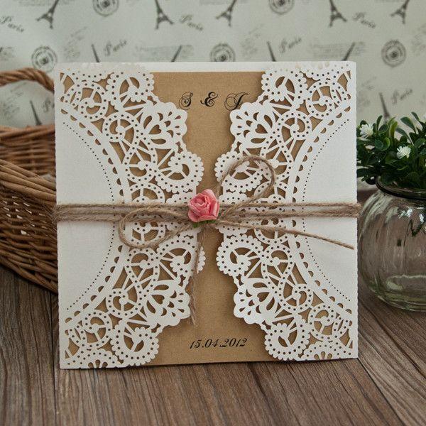 Romantische rose und spitze hochzeitseinladungskarte - Hochzeitseinladungen mit spitze ...