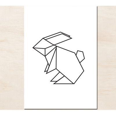 L\u0027affiche origami lapin est idéale en décoration dans une chambre d