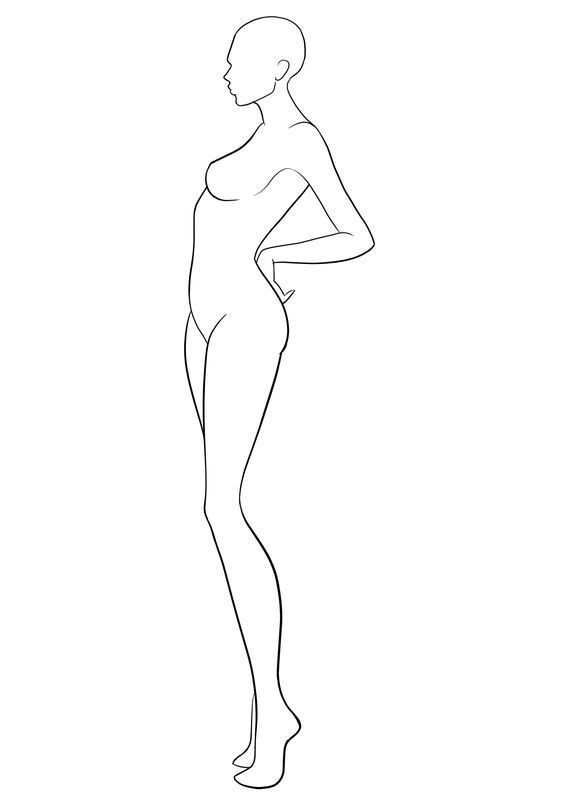 Fashion Template #38 Side view fashion figure template Blank body