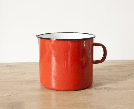 French vintage Japy red enamel pot - French vintage 1950 - Retro ...