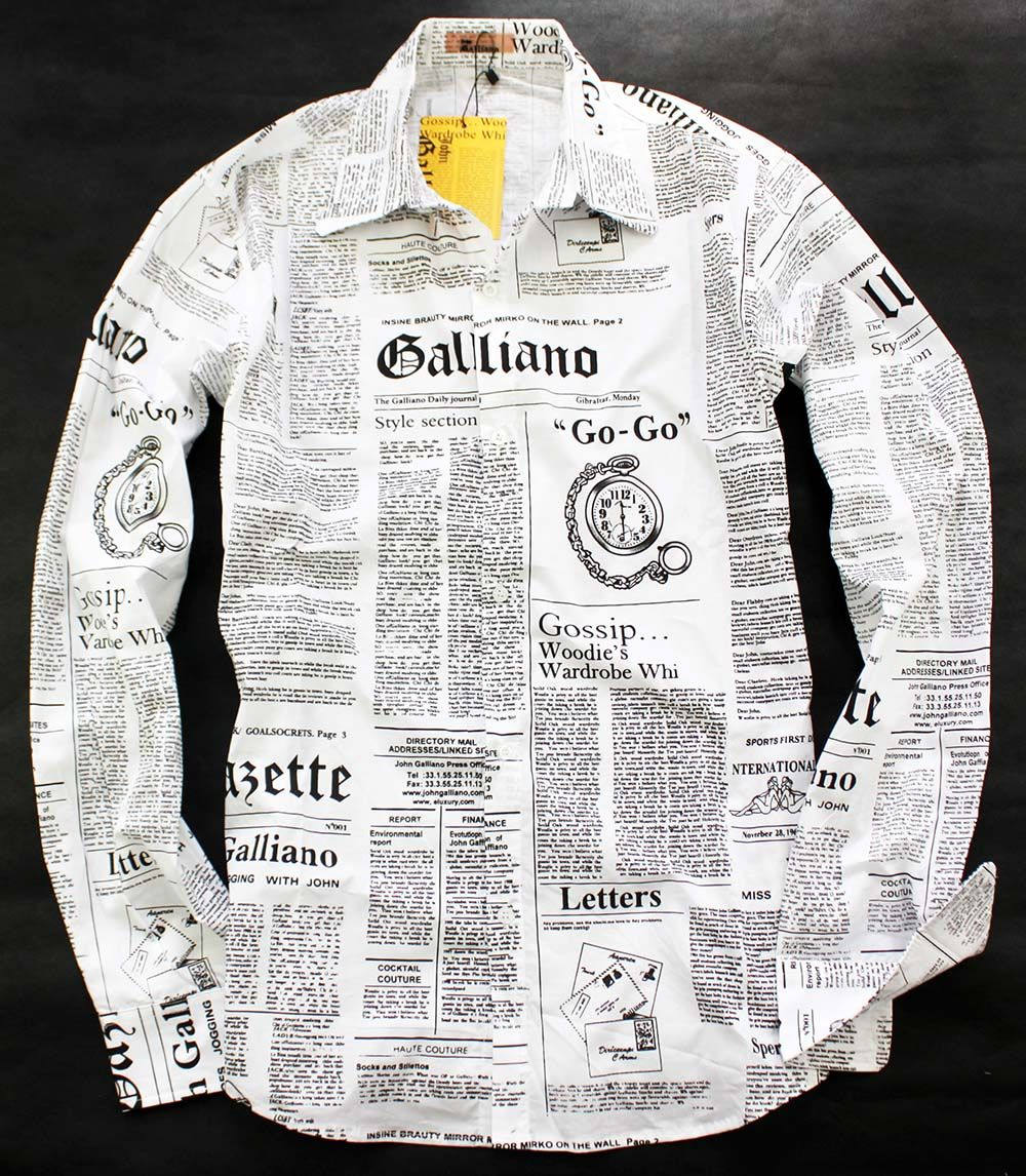 d4fc6dba95 Men's Newspaper Printed Galliano Shirt. Would definitely wear this with a  dark coloured open jacket.