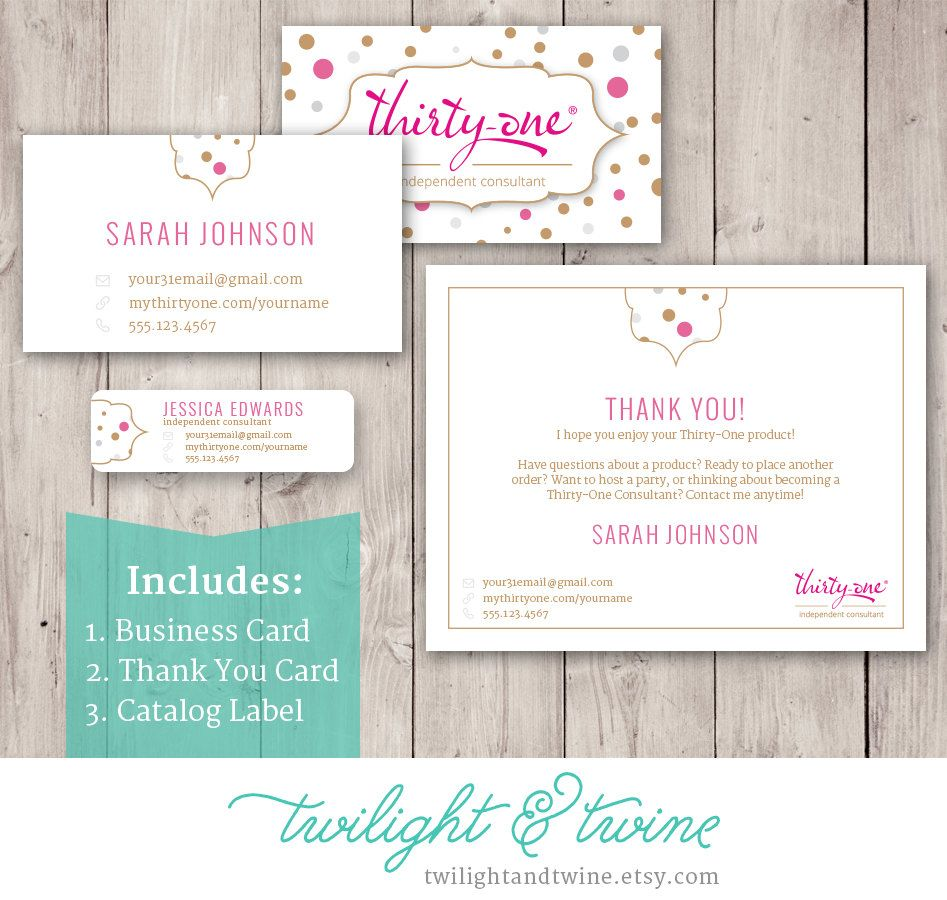 Thirty One Essentials Business Bundle 31 Card Label Thank You