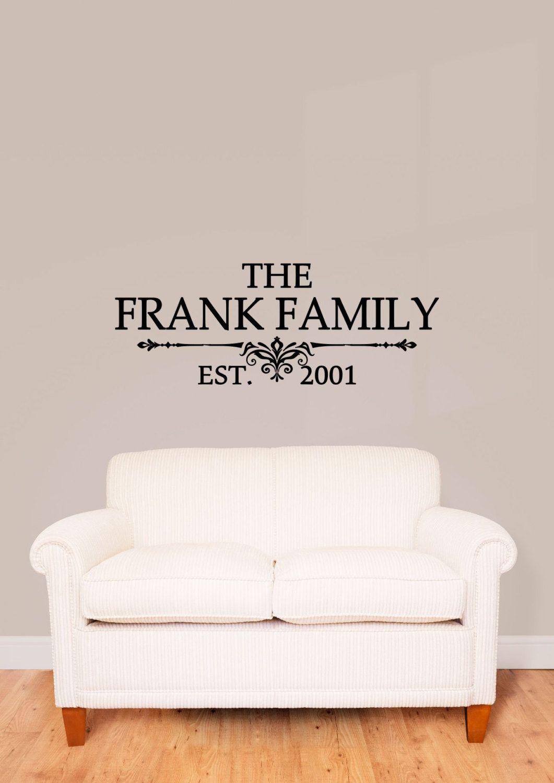 Custom Family Last Name Vinyl Decal Family Vinyl Wall Art Decal - Personalized vinyl wall art decals