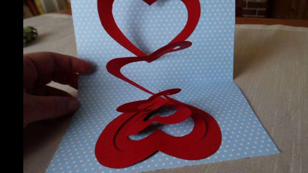 Pop Up Card Spiral Heart Tutorial Card Craft Paper Crafts Cards Heart Cards