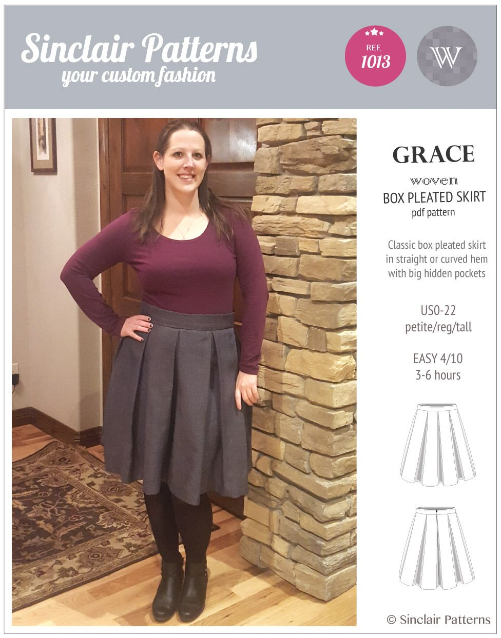 Grace Box Pleated Lined Woven Skirt With Pockets Pdf With Images Skirts Box Pleat Skirt Skirts With Pockets