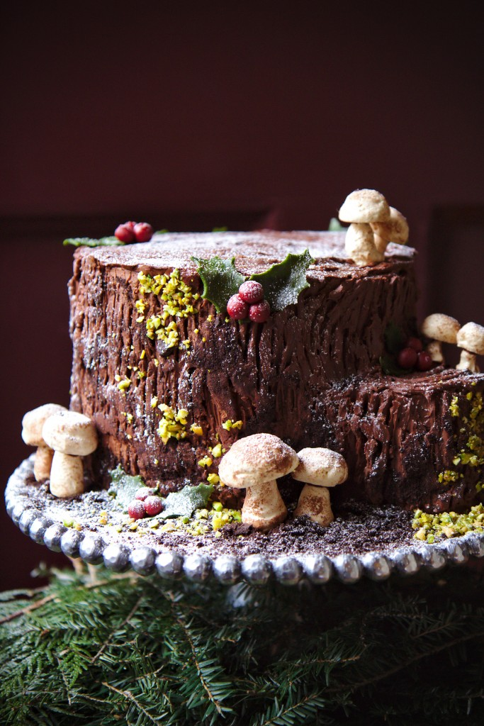 Une Souche de Noël La Pêche Fraîche Yule log cake