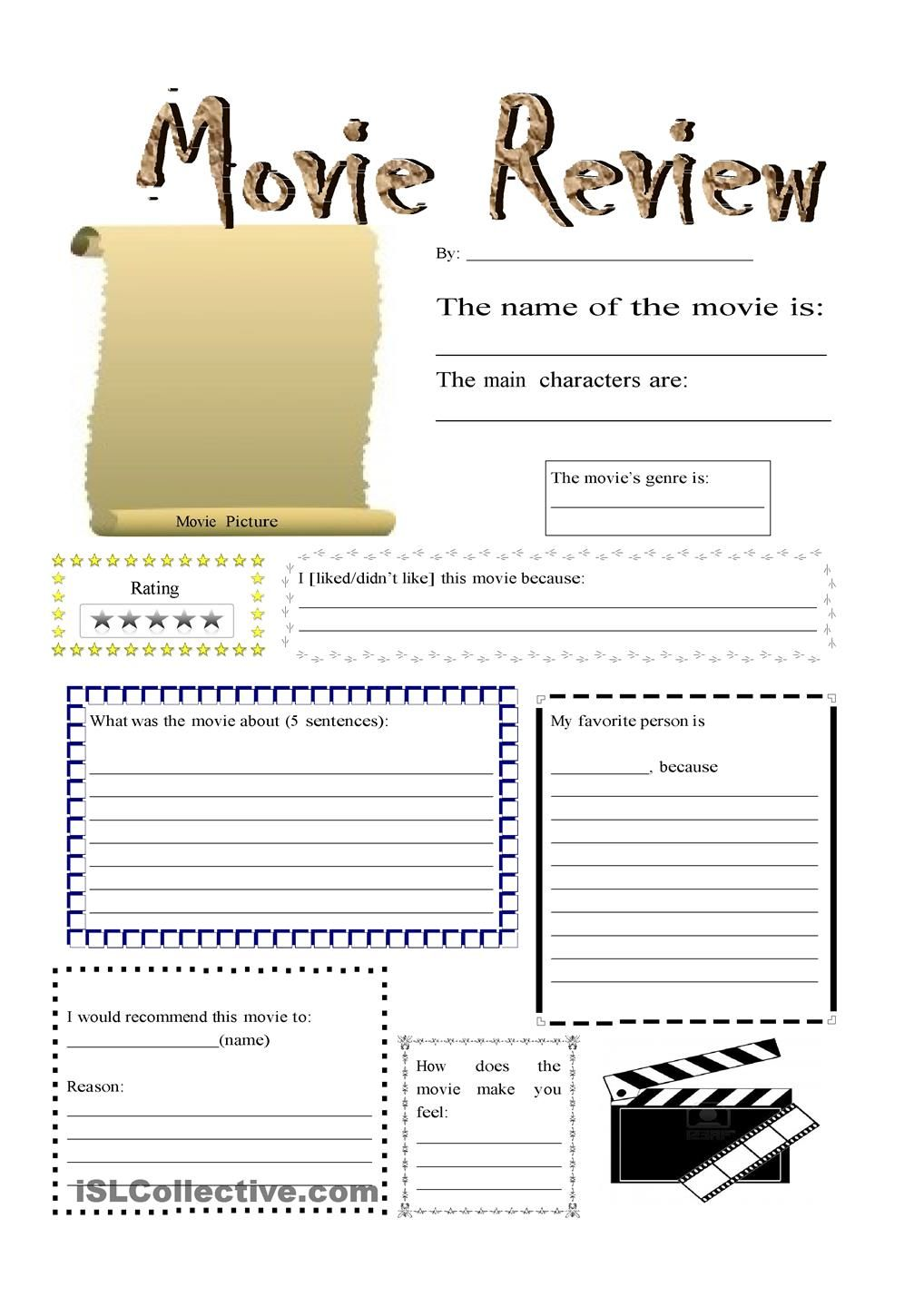 Uncategorized Movie Worksheets movie review clases pinterest english and worksheets review