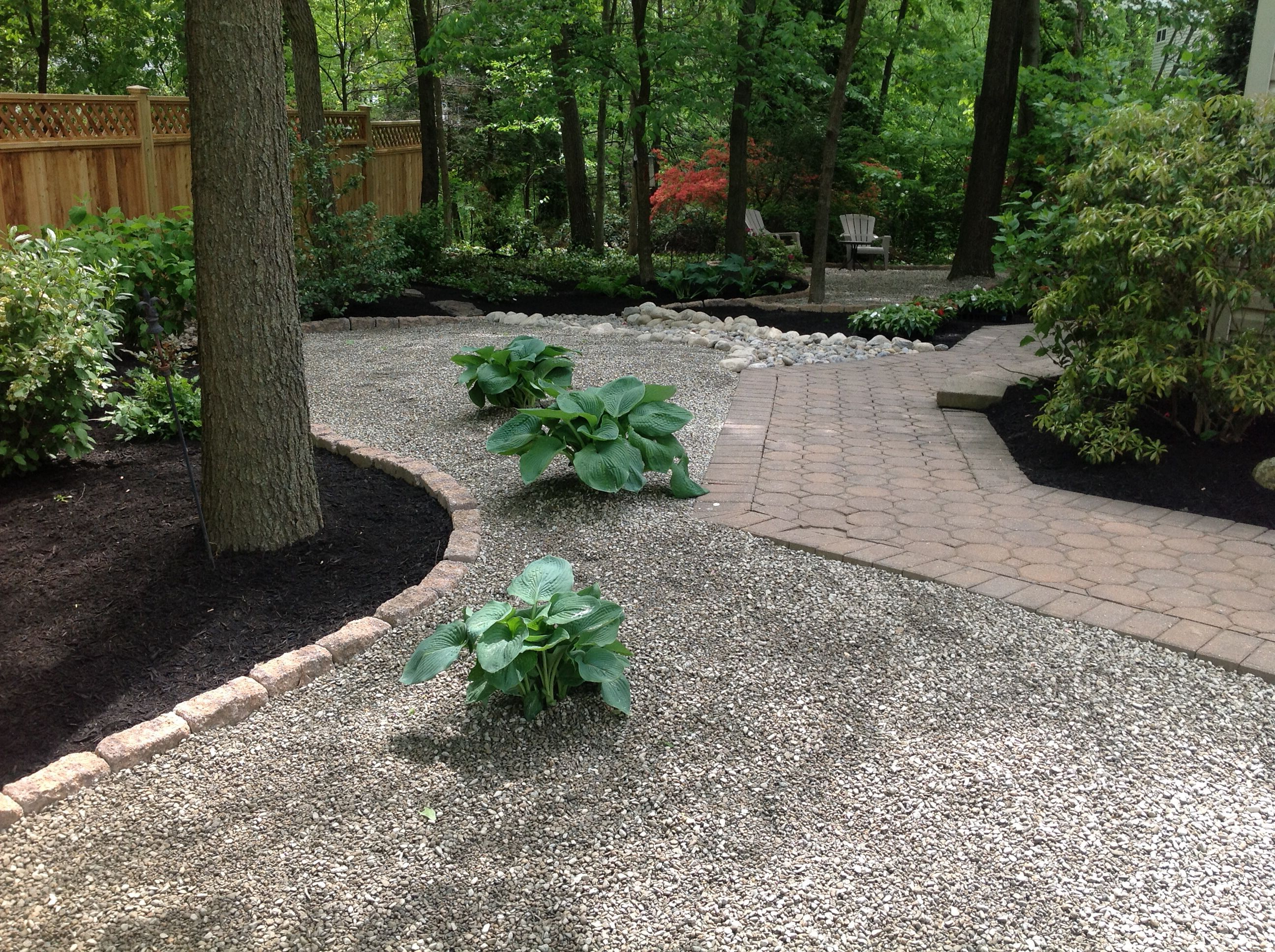 Pea gravel and perennials for our shady backyard | K & K ... on Pea Gravel Yard Ideas id=65941