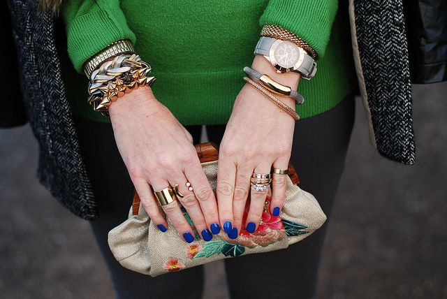 Arm candy and blue manicure by Not Dressed As Lamb, via Flickr
