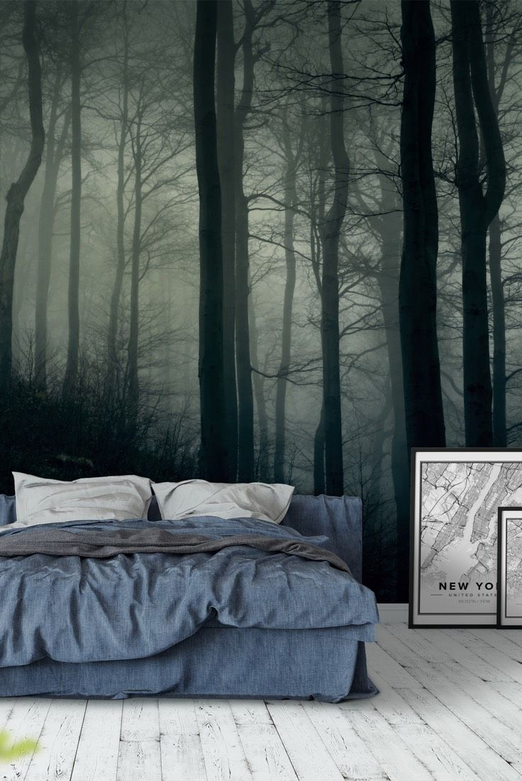 Foggy dark forest Wall mural in 2020 Forest mural, Wall