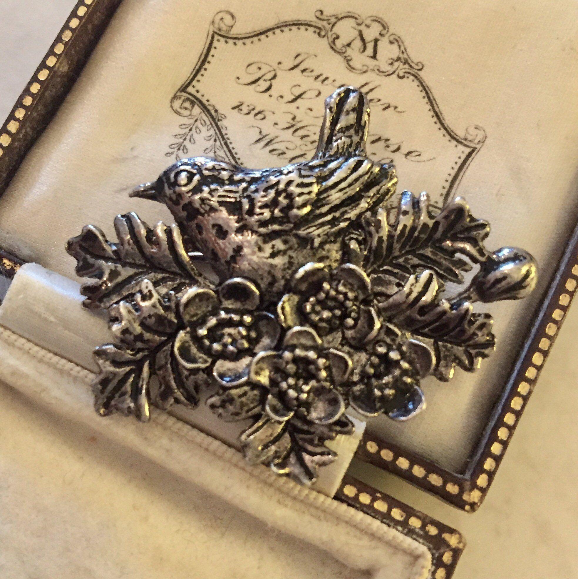 Vintage Bird Brooch, Vintage Pewter Brooch, Pewter Pin