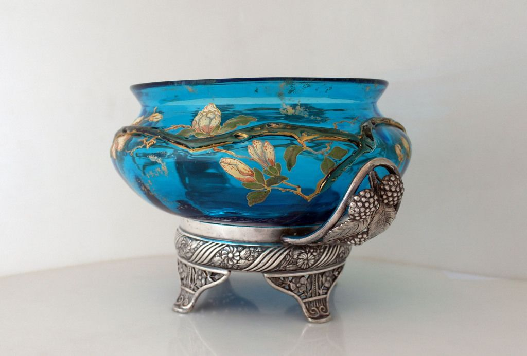 Pairpoint Glass Bowls | Pairpoint Aesthetic Silverplate Basket Orig. Hand Painted Glass image ...