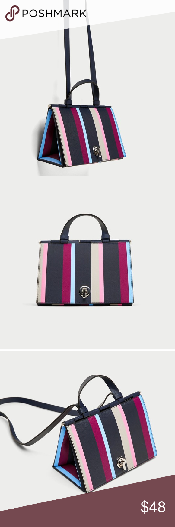 Multicolored Stripes Triangle Bag Multicolored City Bag With a geometric shape and striped print in a combination of colors. Features top handle, shoulder strap, lined interior and metal fastening Zara Bags Shoulder Bags