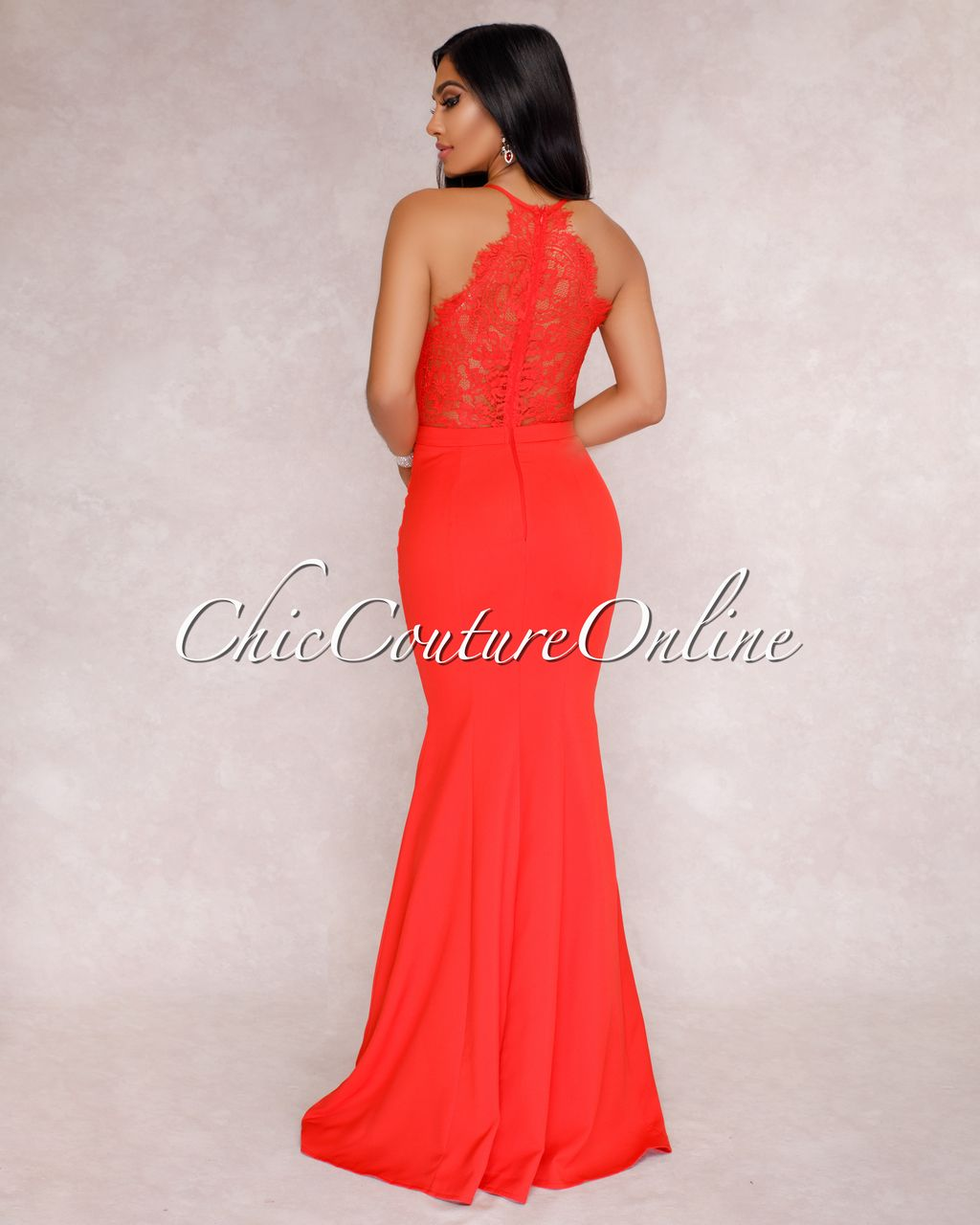 Chic Couture Online Venus Coral Red Lace Back Maxi Dress Http