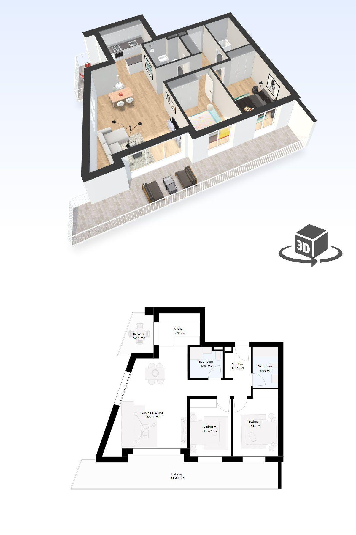 2 bedroom apartment interactive 3D floor plan model