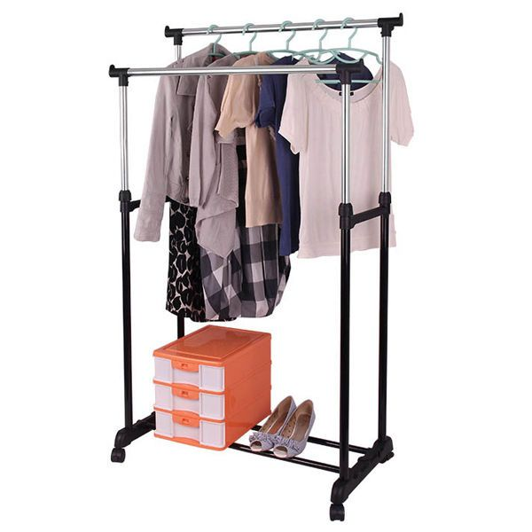 Double Rail Clothes Dress Coat Garment Hanging Stand Storage Organiser Rack Rail