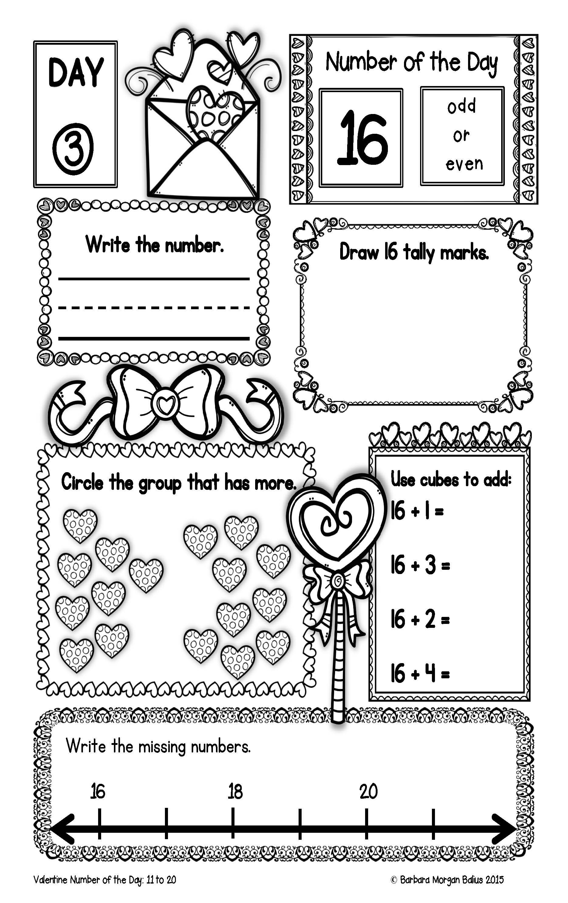Number Of The Day Valentine Freebie Numbers 11 20 Kindergarten