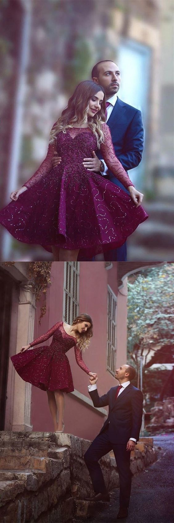 Short prom dresses sparkle maroon party gowns with long sleeves