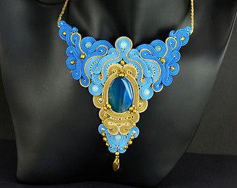 SALE Brown Beige Gold Soutache Earrings Gas Hose by OzdobyZiemi