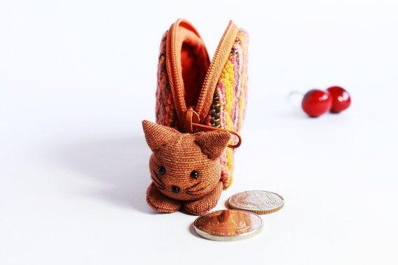 Cat cats kitty kitten handmade zipper fabric coin change purse card holder