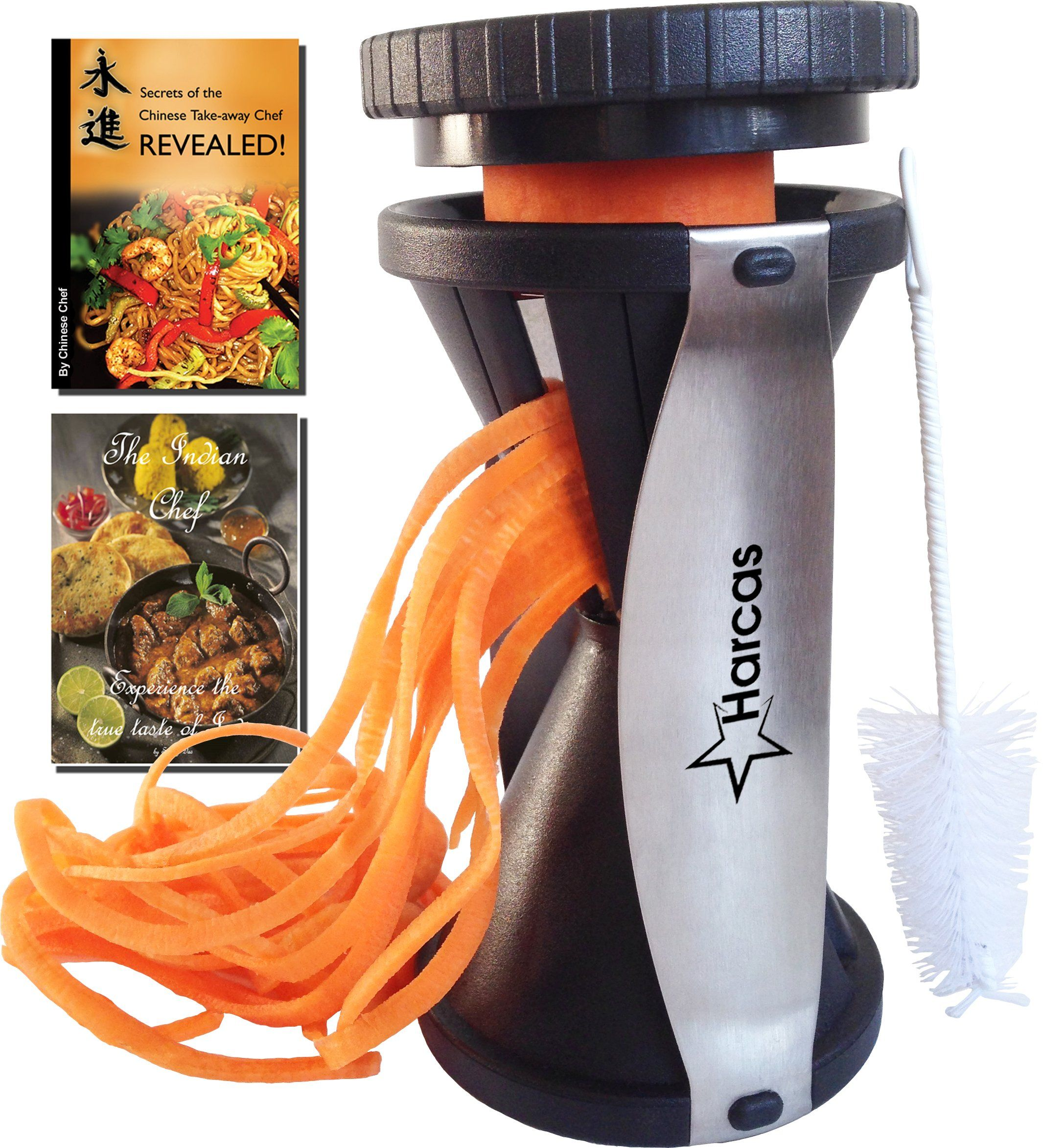Spiral vegetable slicer hand held with cleaning brush zucchini and - Premium Spiralizer Spiral Vegetable Slicer Zucchini Pasta Noodle Maker Complete Bundle Cleaning Brush The Secrets Of The Chinese Chefs Ebook The Indian