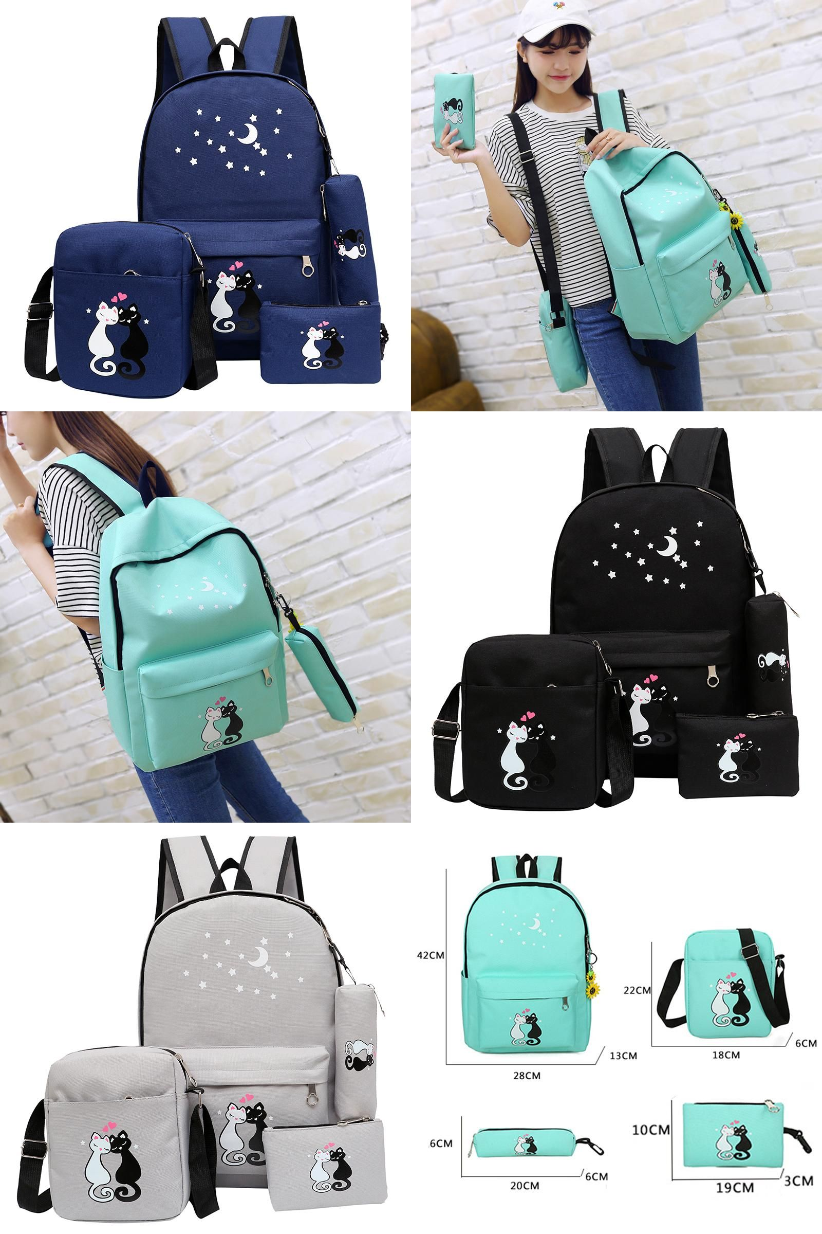 Visit to Buy  4Pcs set women backpack schoolbag korean rucksack cut school  bags 5c194d65118b1