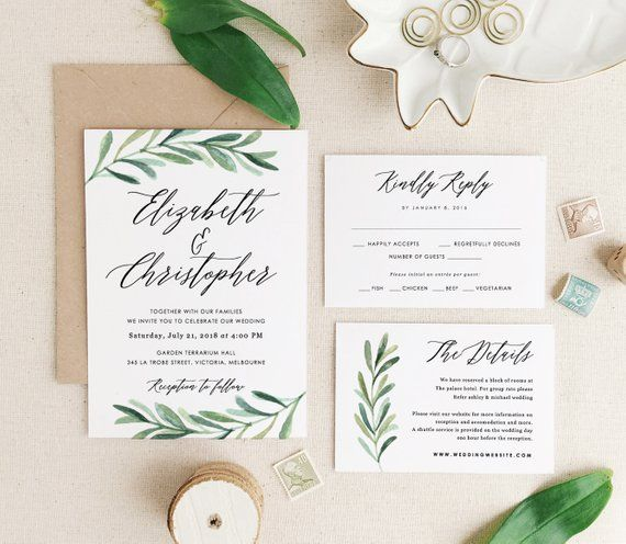 greenery wedding invitation template  printable wedding invitations  invitation suite