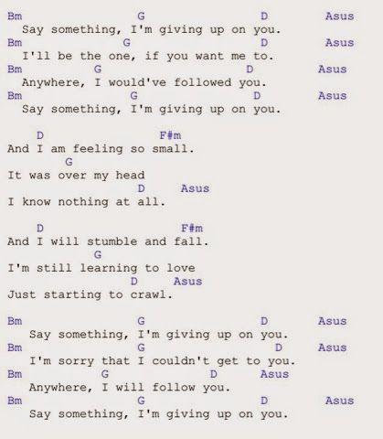 Hasil gambar untuk say something i\'m giving up on you lyric chord ...